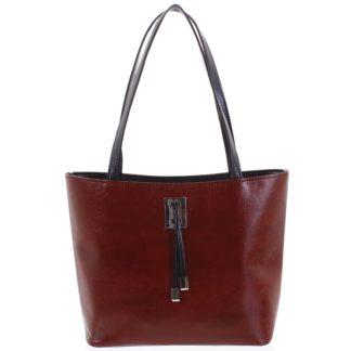 Velká bordo vzorovaná dámská kabelka přes rameno - Ellis Huyen vínová