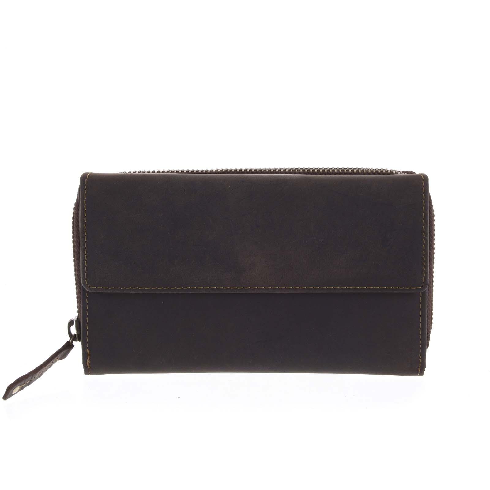 Dámská kožená peněženka tmavě hnědá - Tomas Menmaiya hnědá