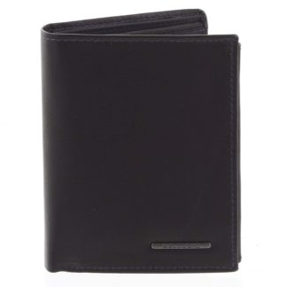 Pánská prošívaná kožená peněženka černo modrá - Bellugio Panagiotis černá