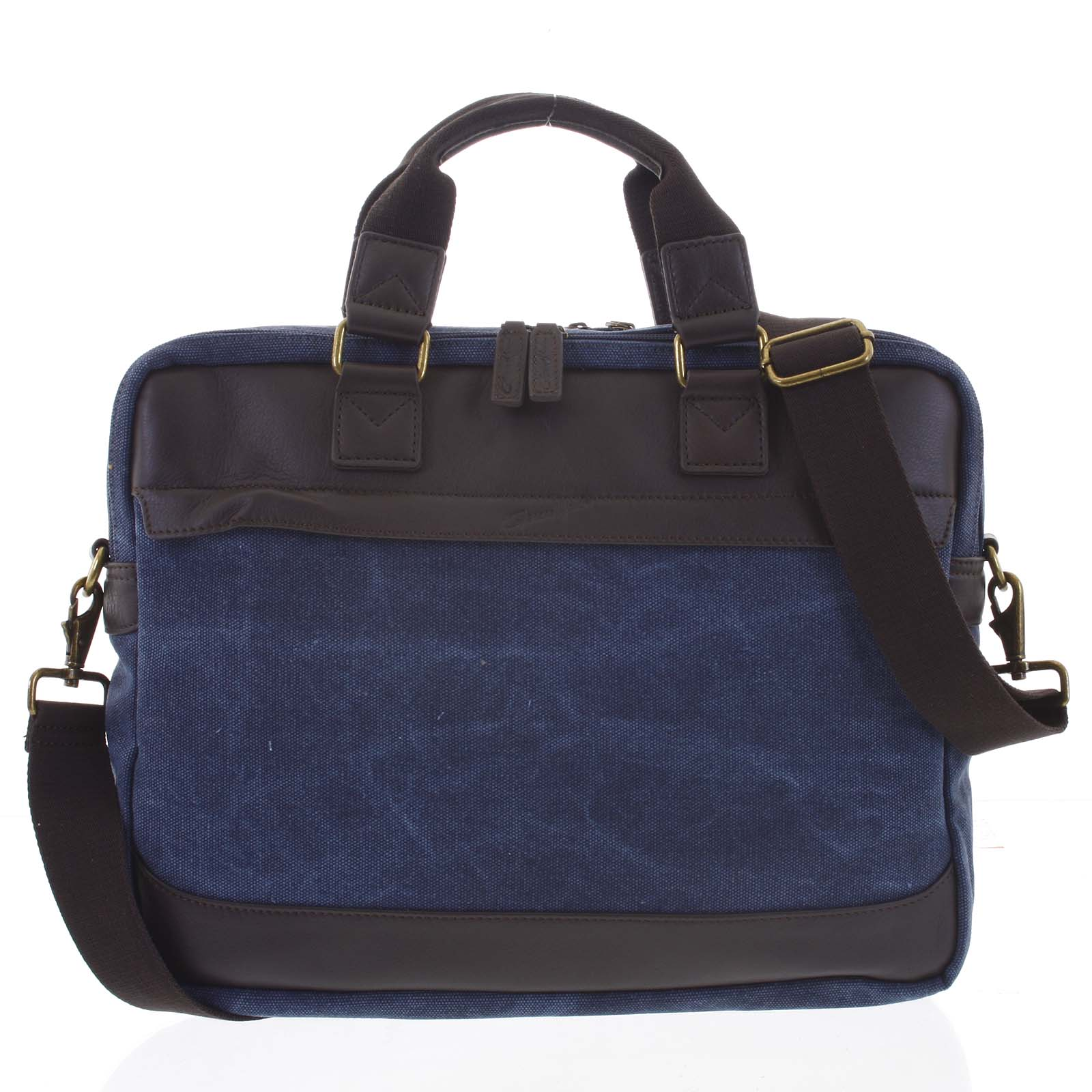 Luxusní střední pánská taška s koženými detaily modrá - Gerard Henon Baron modrá