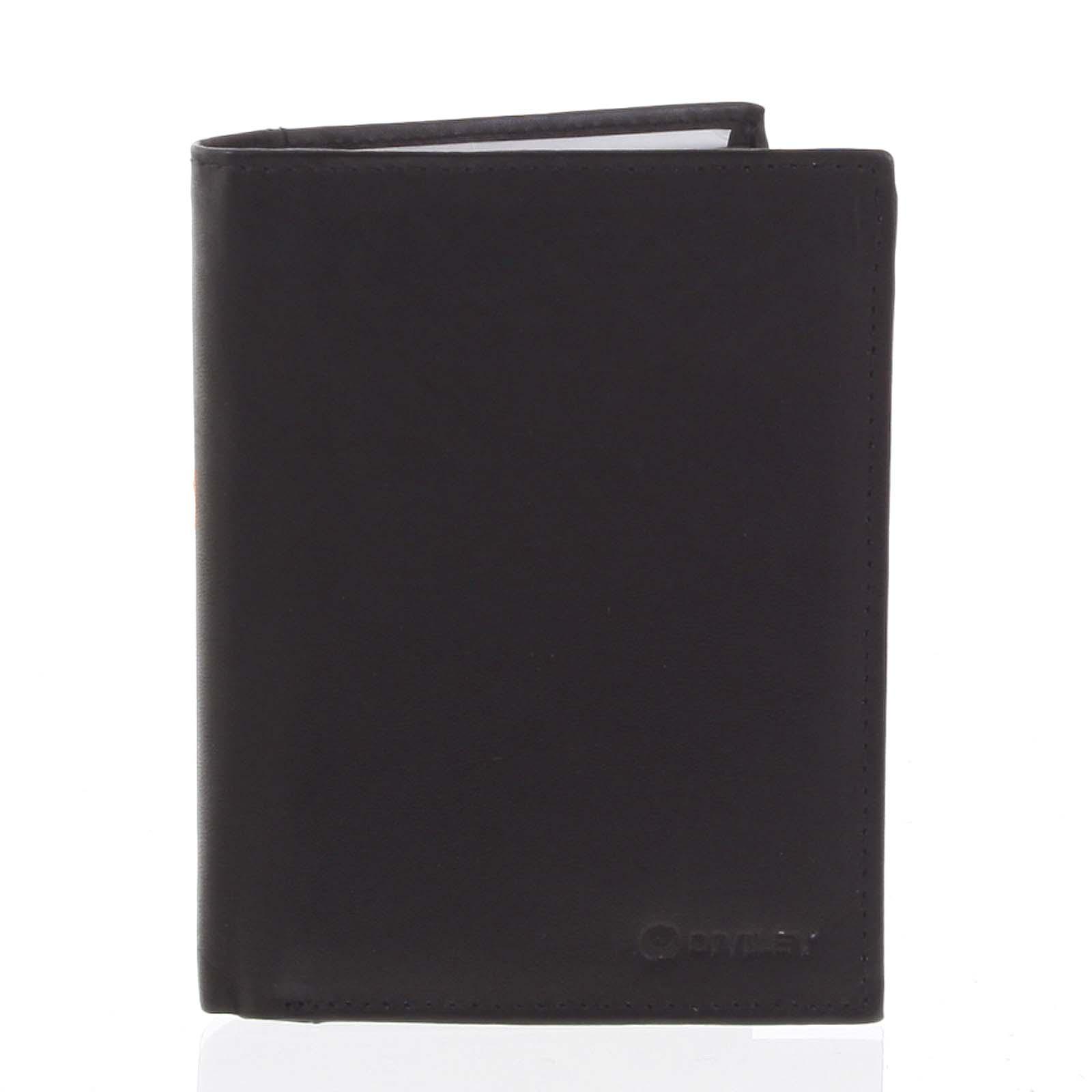Pánská pevná kožená peněženka černá - Diviley Kainat černá