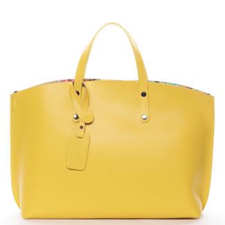 Dámská kožená kabelka žlutá - ItalY Jordana žlutá