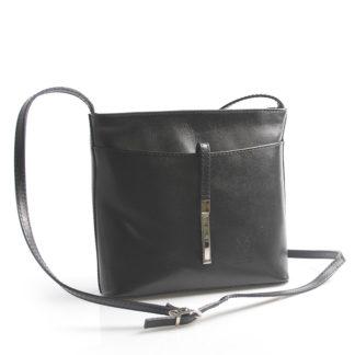 Černá kožená crossbody kabelka ItalY Aneta černá