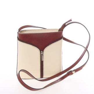 Dámská kožená crossbody kabelka béžovo hnědá - ItalY Hallie béžová