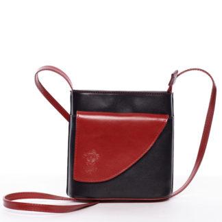 Dámská kožená crossbody kabelka černo-červená - ItalY Cora černá