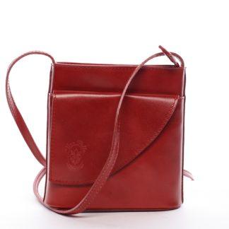 Dámská kožená crossbody kabelka červená - ItalY Cora červená