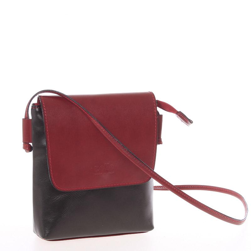 Dámská kožená crossbody kabelka černo červená - ItalY Tamia černá