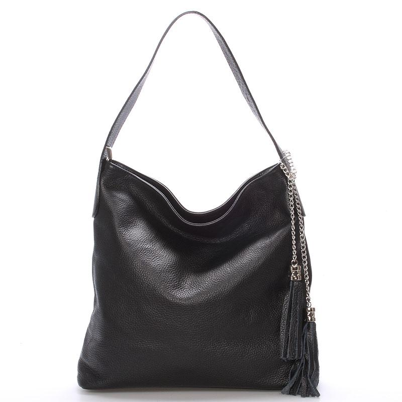 Módní kožená kabelka přes rameno černá - ItalY Georgine černá