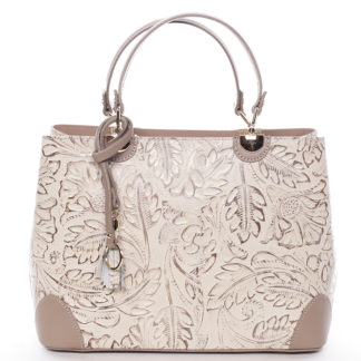 Originální dámská kožená kabelka taupe - ItalY Mattie taupe