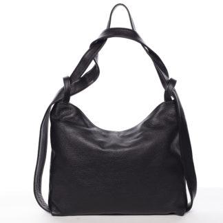 Módní černá kožená kabelka přes rameno - ItalY Nympha černá