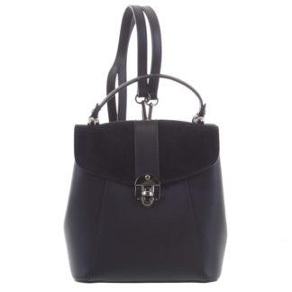 Dámský originální kožený černý batůžek/kabelka - ItalY Acnes černá