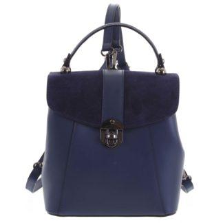 Dámský originální kožený temně modrý batůžek/kabelka - ItalY Acnes tmavě modrá