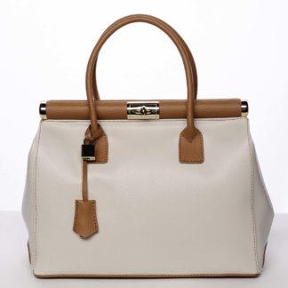 Módní originální dámská kožená kabelka do ruky béžová - ItalY Hila béžová