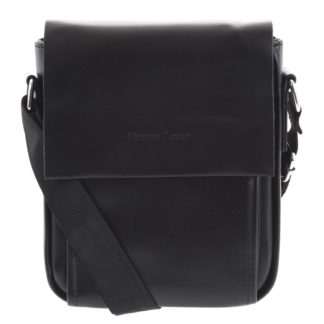 Pánská kožená crossbody taška černá - Filippo Lucci Magnett černá
