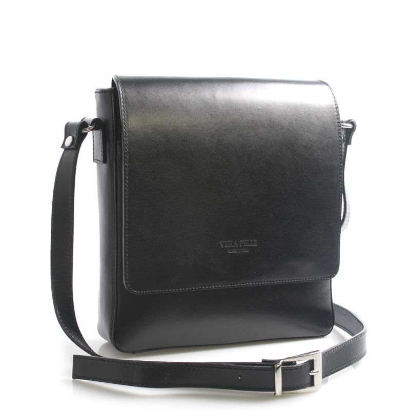 Luxusní černá kožená taška přes rameno ItalY Crosby černá