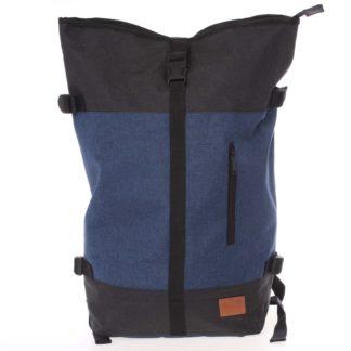 Jedinečný velký stylový unisex batoh modročerný - New Rebels Rebback modrá
