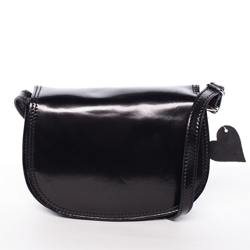 Menší černá lakovaná crossbody kožená kabelka - ItalY Zoya černá