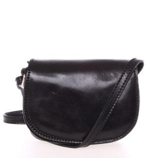 Malá černá hladká crossbody kožená kabelka - ItalY EmZoya černá