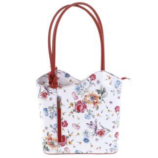 Dámská kožená kabelka batůžek květinová červená - ItalY Larry červená