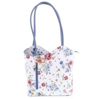 Dámská kožená kabelka batůžek květinová bledě modrá - ItalY Larry modrá
