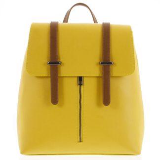 Dámský kožený batoh žluto hnědý - ItalY Waterfall žlutá