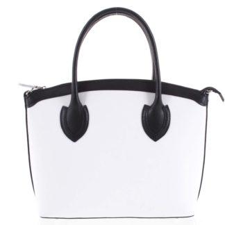 Dámská kožená kabelka bílá - ItalY Garden černo/bílá