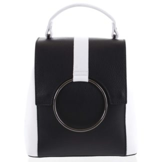 Dámský kožený batůžek kabelka černý - ItalY Vaiamos černo/bílá