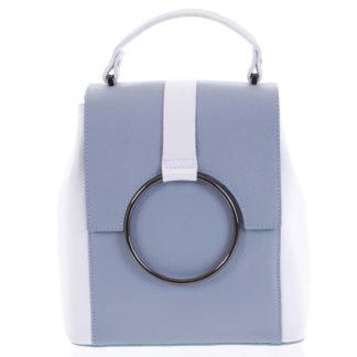 Dámský kožený batůžek kabelka bledě modrý - ItalY Vaiamos modrá