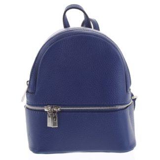 Dámský kožený batůžek tmavě modrý - ItalY Rocme tmavě modrá