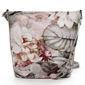 Taupe kožená crossbody kabelka - ItalY Bryana Flower taupe