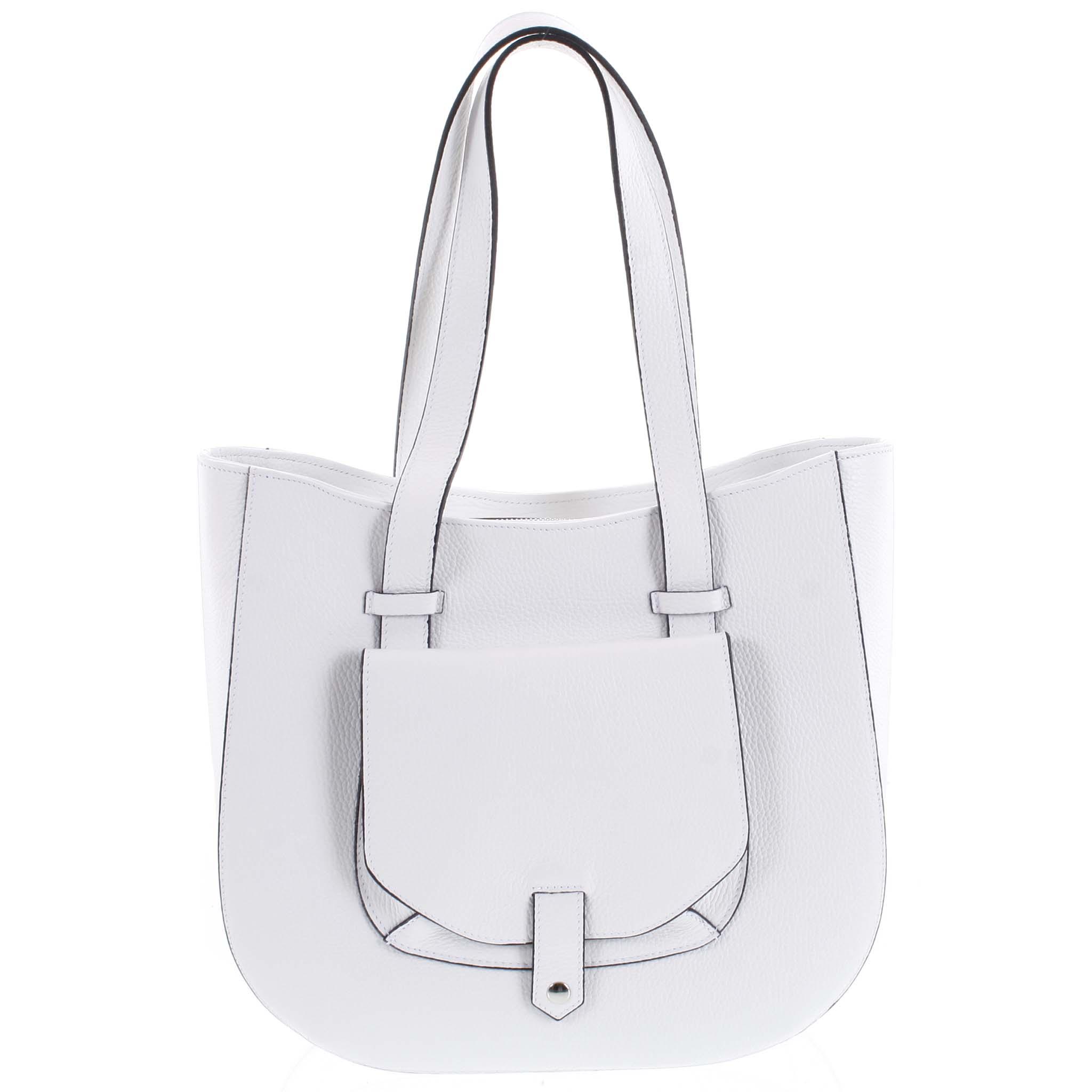 Dámská kožená kabelka přes rameno bílá - ItalY Normani bílá