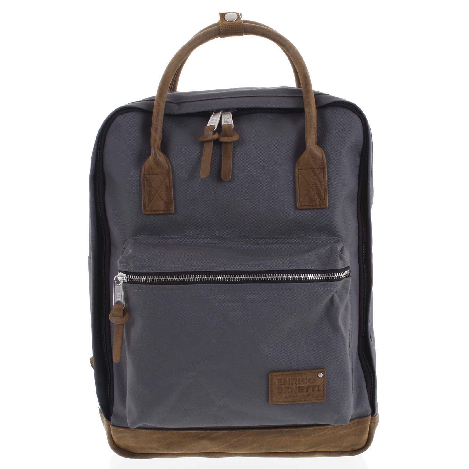 Pánský stylový batoh šedý - Enrico Benetti Lefl šedá