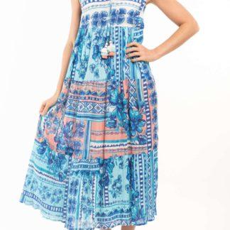 Orientique modré dlouhé šaty Navajio