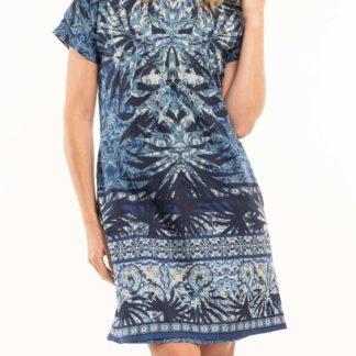 Orientique modré oboustranné šaty Andros s kapsami
