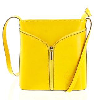 Dámská kožená crossbody kabelka žlutá - ItalY Hallie žlutá