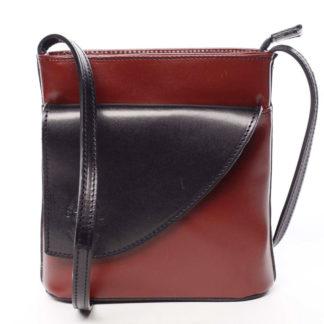 Dámská kožená crossbody kabelka červeno černá - ItalY Cora červená