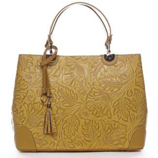 Originální dámská kožená kabelka tmavě žlutá - ItalY Mattie žlutá