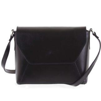 Černá dámská kožená crossbody kabelka - ItalY Dunya Two černá