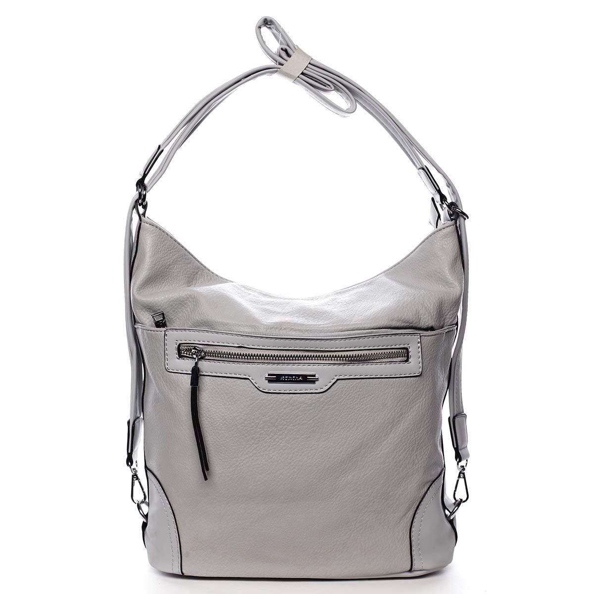 Dámská kabelka batoh světle šedá - Romina Zilla šedá