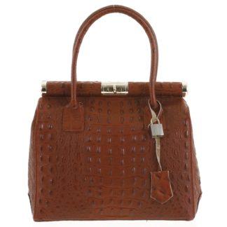 Luxusní dámská kožená kabelka do ruky tmavě červená - ItalY Hyla Kroko červená