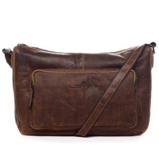 Kožená taška přes rameno hnědá - Greenwood Aboutme hnědá