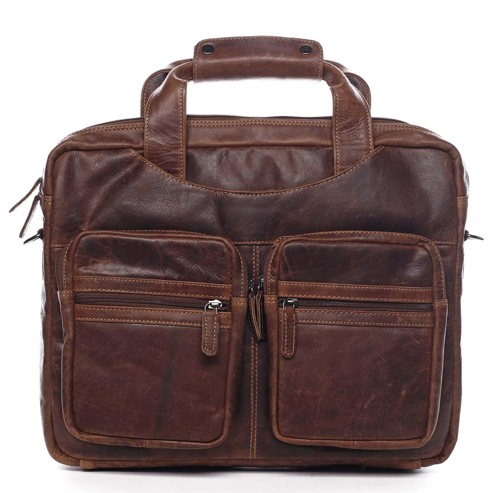Velká pánská kožená taška na notebook hnědá - Greenwood Experes hnědá