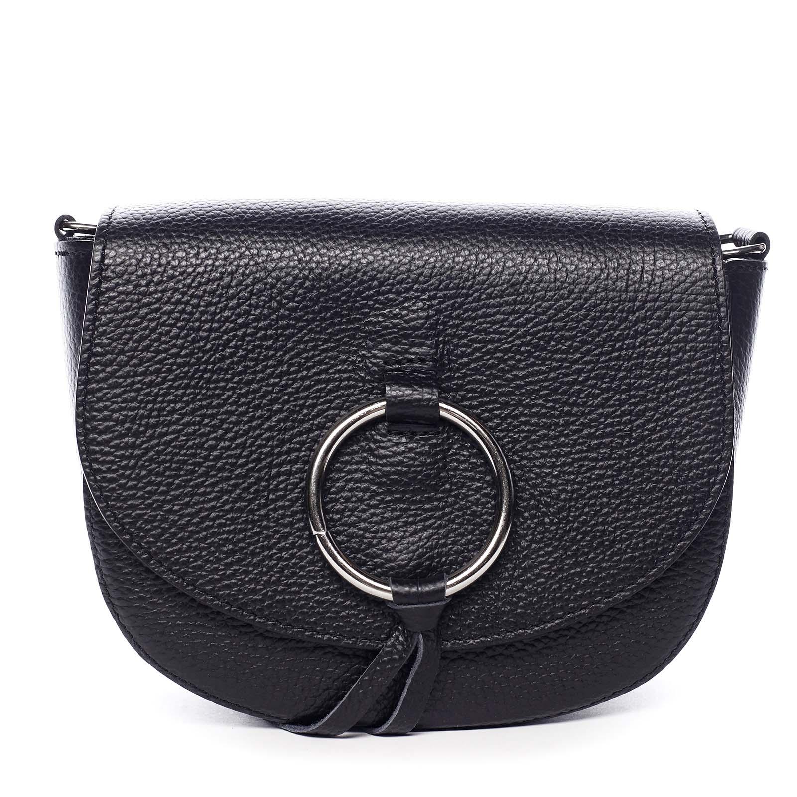 Dámská kožená crossbody kabelka černá - ItalY Vaiana černá
