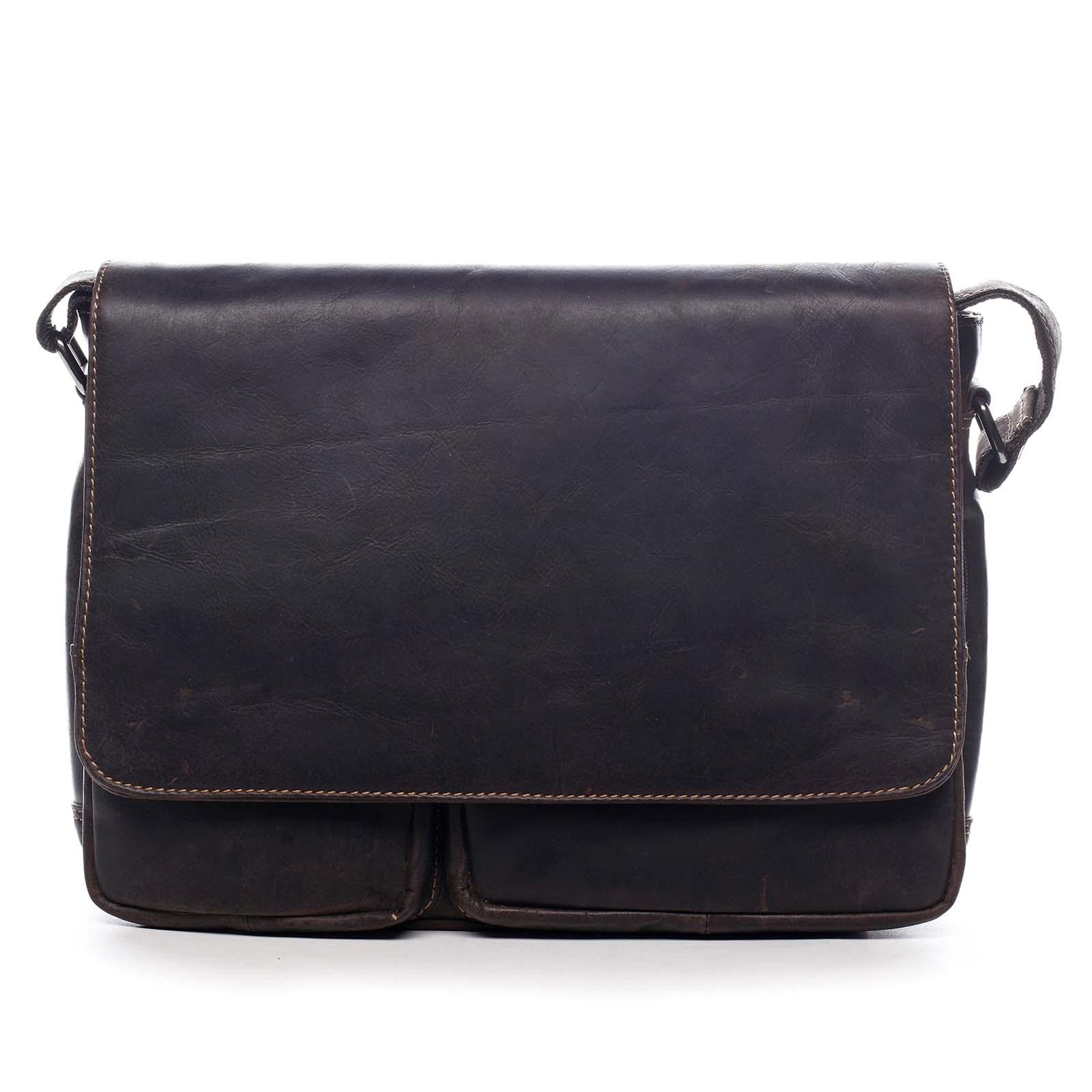 Pánská kožená taška tmavě hnědá - Greenwood Cheat hnědá