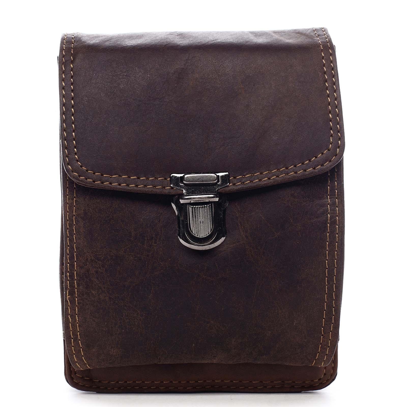 Luxusní pánská kožená kapsa na opasek hnědá - Greenwood Surprise hnědá