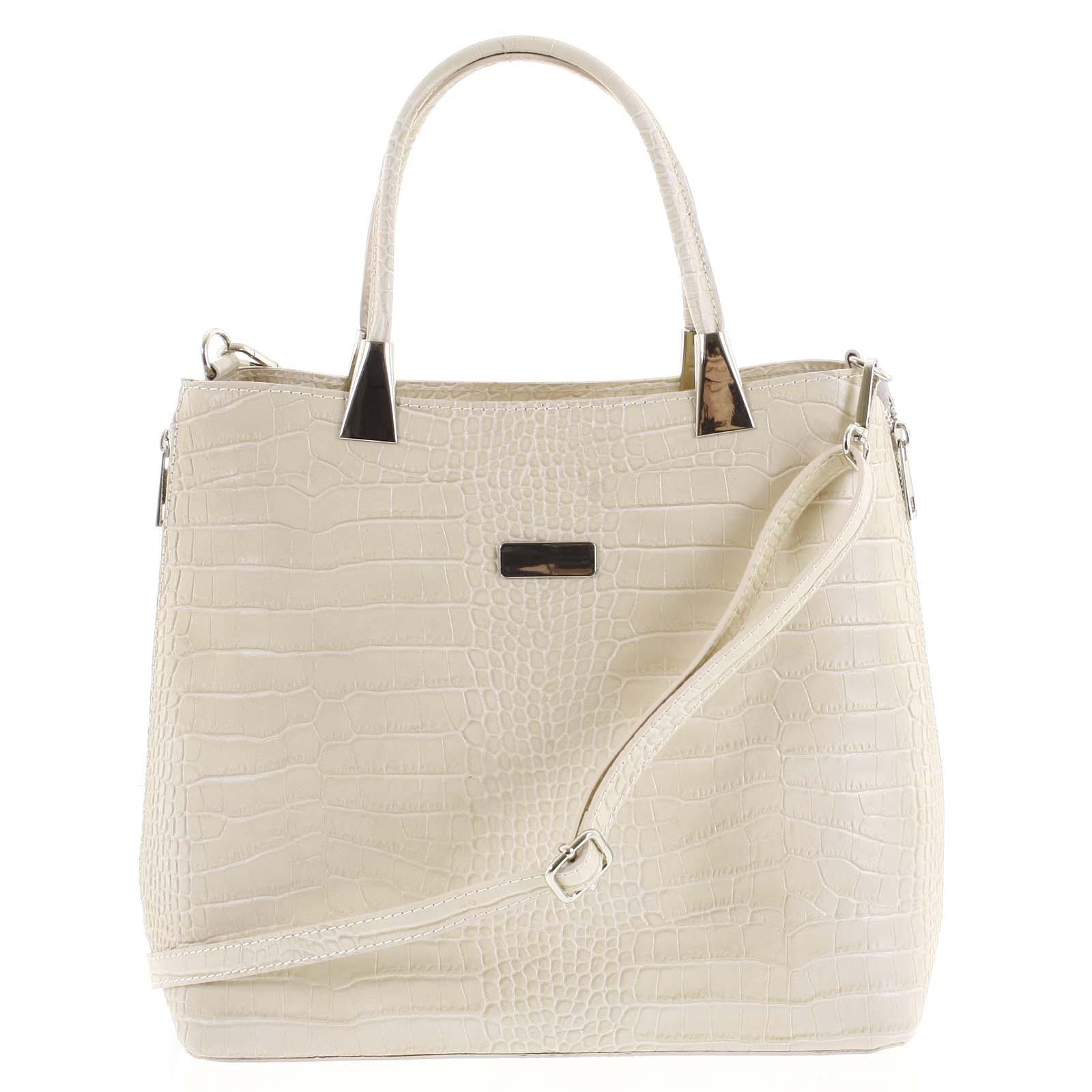 Luxusní dámská kožená kabelka béžová - ItalY Marion béžová