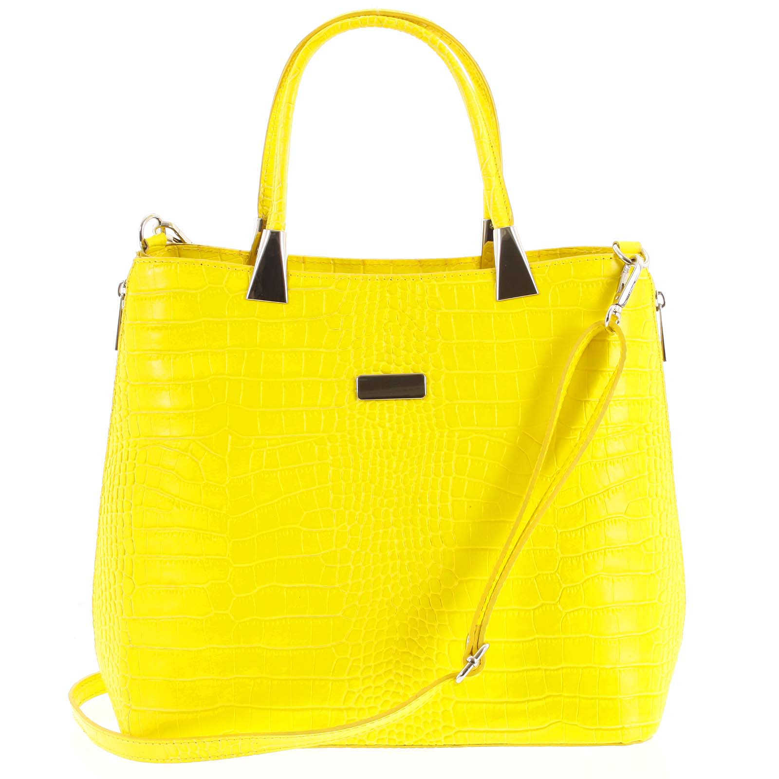 Luxusní dámská kožená kabelka žlutá - ItalY Marion žlutá