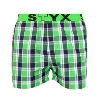 Styx zelené kostkované pánské trenýrky se sportovní gumou