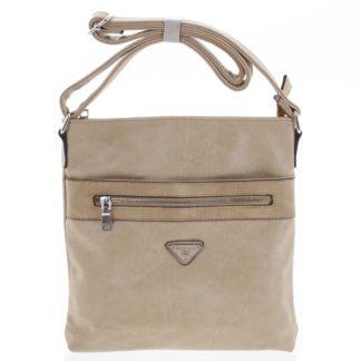 Trendy měkká crossbody kabelka tmavě béžová - Delami Devyn béžová