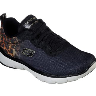 Skechers černé tenisky Flex Appeal 3 s leopardím vzorem
